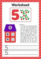 Worksheet count for kids House Number bonds Trace line The study of mathematics for children of kindergarten preschool age Five 5 vector