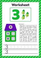 ilustración vectorial hoja de cálculo recuento para niños baya número de casa bonos traza línea el estudio de las matemáticas para niños de jardín de infantes preescolar tres años 3 vector