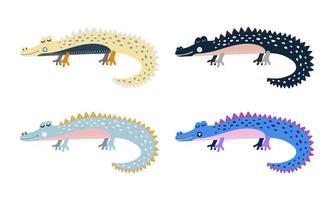 Cute cartoon alligator for kids Set color crocodiles vector