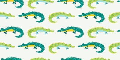 cocodrilo de dibujos animados lindo para niños de patrones sin fisuras con cocodrilos verdes dibujados nahd vector