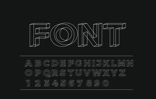 3d geometric alphabet font Letters numbers and symbols vector