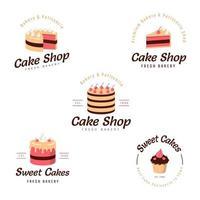 Cake Shop Logo set vector