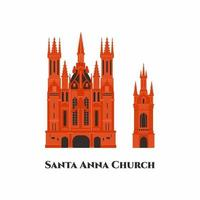St. Anne's Church flat cartoon icon design template. It is a Roman Catholic church in Vilnius' Old Town. Beautiful church around old town. Worth to visit. World countries cities vacation travel vector