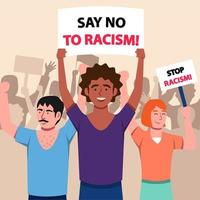 A Group Of People Stand Against Racism vector