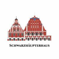 Schwarzhaupterhaus in Latvia. House of the Blackheads is a building situated in the old town of Riga, Latvia. One of the greatest is the old town Hall Square. Worth to visit. Flat vector illustration