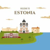 Estonia country magnet design template with landmark building. Flat cartoon style historic sight showplace web site vector illustration. World vacation travel Europe European collection