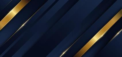 Abstract template blue geometric diagonal background with golden line Luxury style vector
