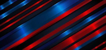 Fondo de líneas de rayas de color azul oscuro y rojo diagonal abstracto capas superpuestas decoración fondo de efecto de luz azul vector
