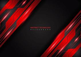 Abstract technology geometric red and black color shiny motion metal background vector