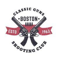 estampado de pistolas clásicas o logotipo vintage con revólveres cruzados vector