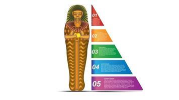 Concepto abstracto e infografía de pirámide de ideas con infografía de datos vector