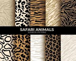 Animal Fur Print Vector Seamless Patterns with Leopard Tiger and Zebra