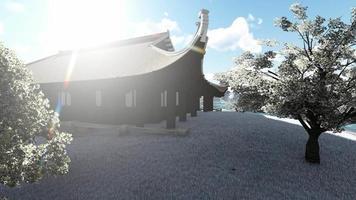 vista panorámica de una casa antigua en la mañana video