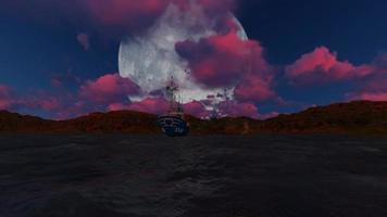 panorama de luna llena y nubes rojas en la noche video