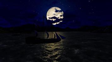 Panorama des Vollmonds in der Nacht video