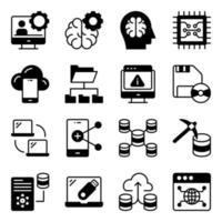 paquete de iconos de glifo de ciencia de datos vector