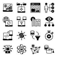 Pack of System Coding Glyph Icons vector