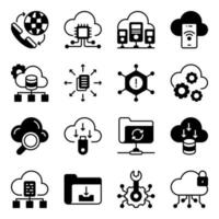 Pack of Data Download Glyph Icons vector
