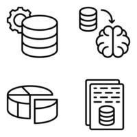 paquete de iconos lineales de base de datos vector