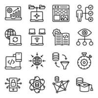Pack of System Coding Linear Icons vector