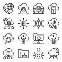 Pack of Data Download Linear Icons vector