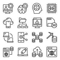 paquete de iconos lineales de ciencia de datos vector