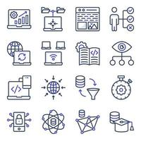 Pack of System Coding Flat Icons vector