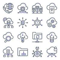Pack of Data Download Flat Icons vector