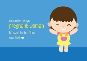 Pregnant woman character vector design Happy mother