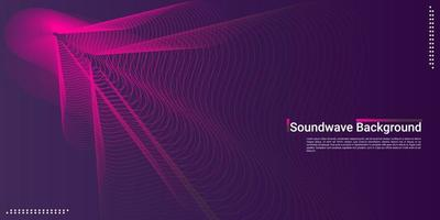 Abstract music background wave line design in dark pink gradient colors vector