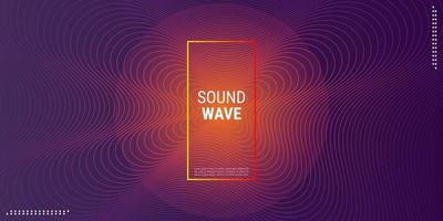 Music wave background design Electronic music party in dark orange gradations vector