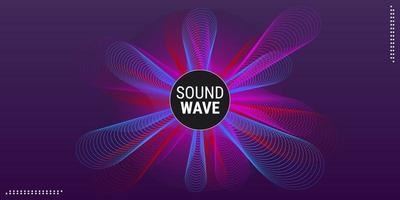 Diseño de línea de onda de fondo de música abstracta en colores degradados azul púrpura y rojo vector