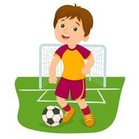 Boy playing football on sports court vector