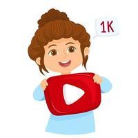 Young girl holding a YouTube button vector