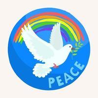 paloma blanca del día de la paz con arco iris en el cielo vector