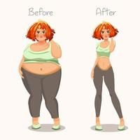 Fat and skinny girls Concept of weight Before and after Vector illustration