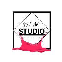 Nail Art studio logo design template vector