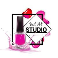 Nail Art studio logo design template vector