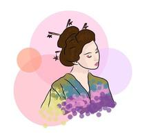 Geisha Beautiful japanese girl vector