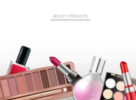 Makeup background Beauty products vector
