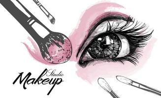 Vector hand drawn illustration of colorful women eye and makeup brushes Concept for beauty salon cosmetics label cosmetology procedures visage and makeup