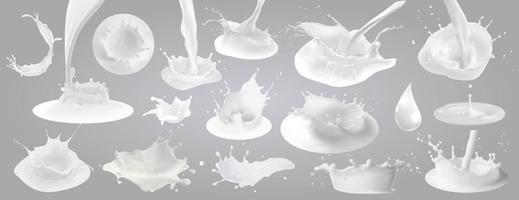 Milk splashes drops and blots vector