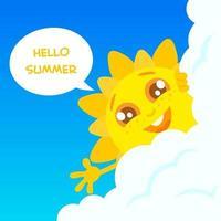 Happy summer sun character vector