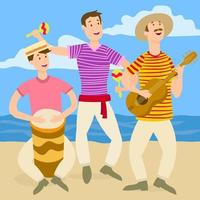 recreational beach party band of drum guitar and zac vector