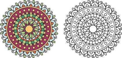 Doodle zentangle mandala design colouring book pages for adults therapy patterns and children Anti stress vector