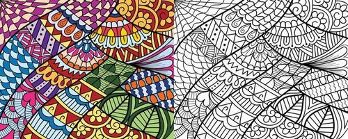 Doodle zentangle  design colouring book pages for adults therapy patterns and children Anti stress vector