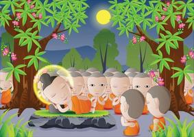 Buddha's death under tree vector