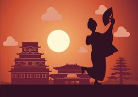 Japanese girl in national costume called kimono stand in front of buildings vector