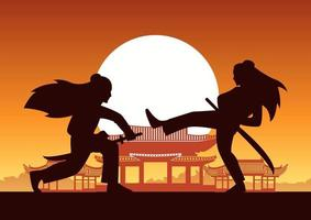 Chinese female martial arts fighters in front of ancient building vector