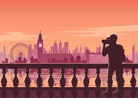 Tourist taking photo of London skyline vector